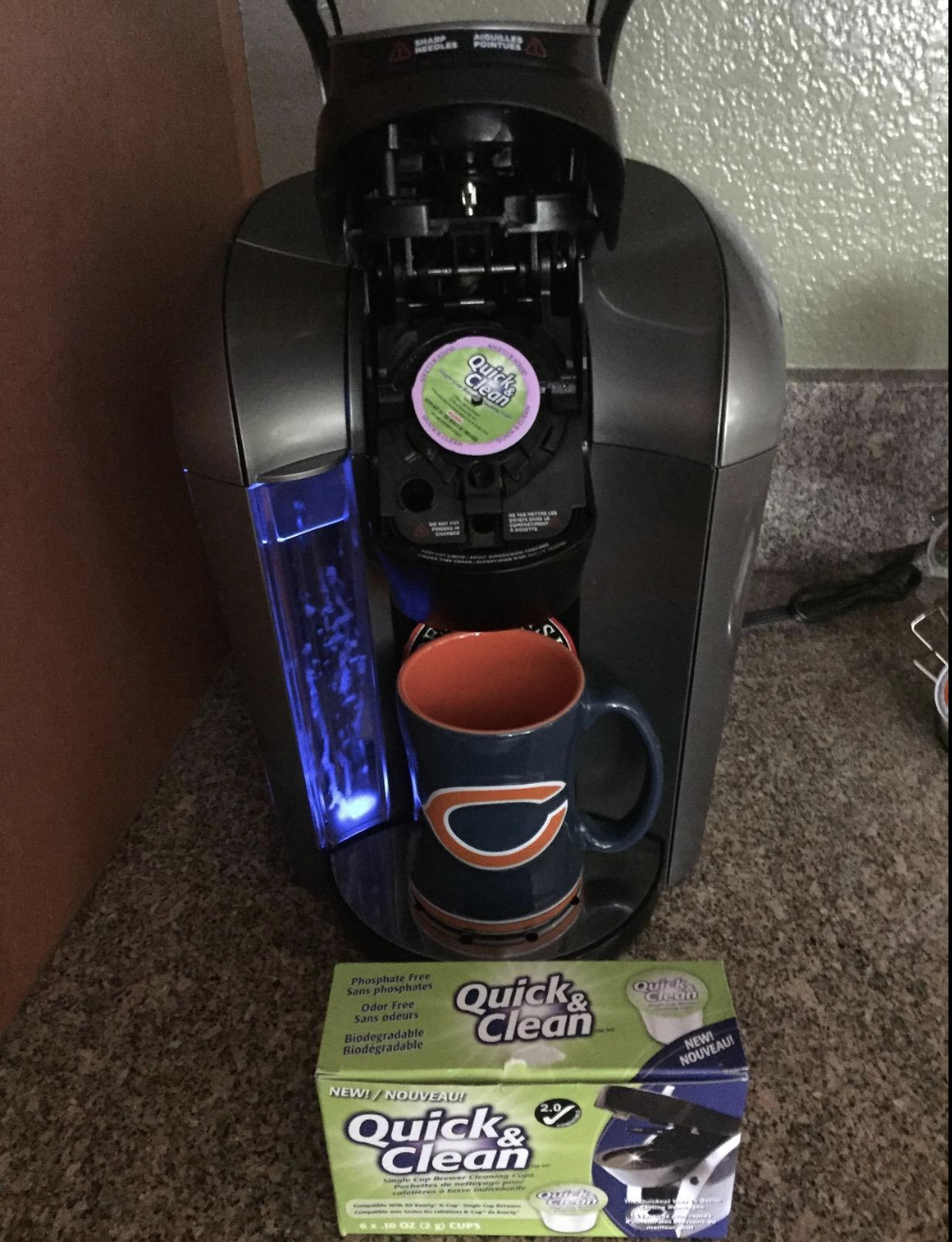 Reviewer image of the cleaning K-cup in a Keurig machine