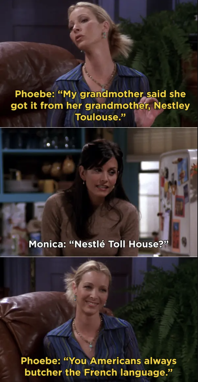 Phoebe talking to Monica about her grandmother's cookie recipe