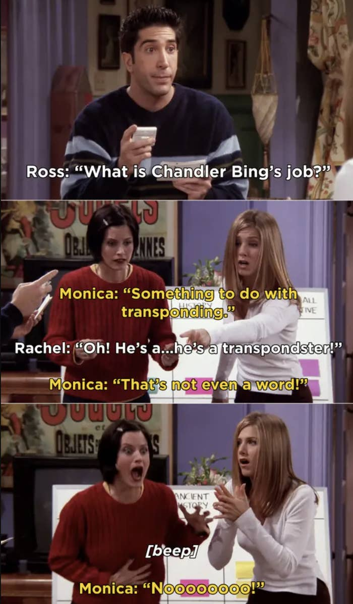 Rachel incorrectly guessing Chandler's job
