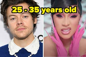 "Harry Styles is on the left with Cardi B on the right labeled, ""25-35 years old"""