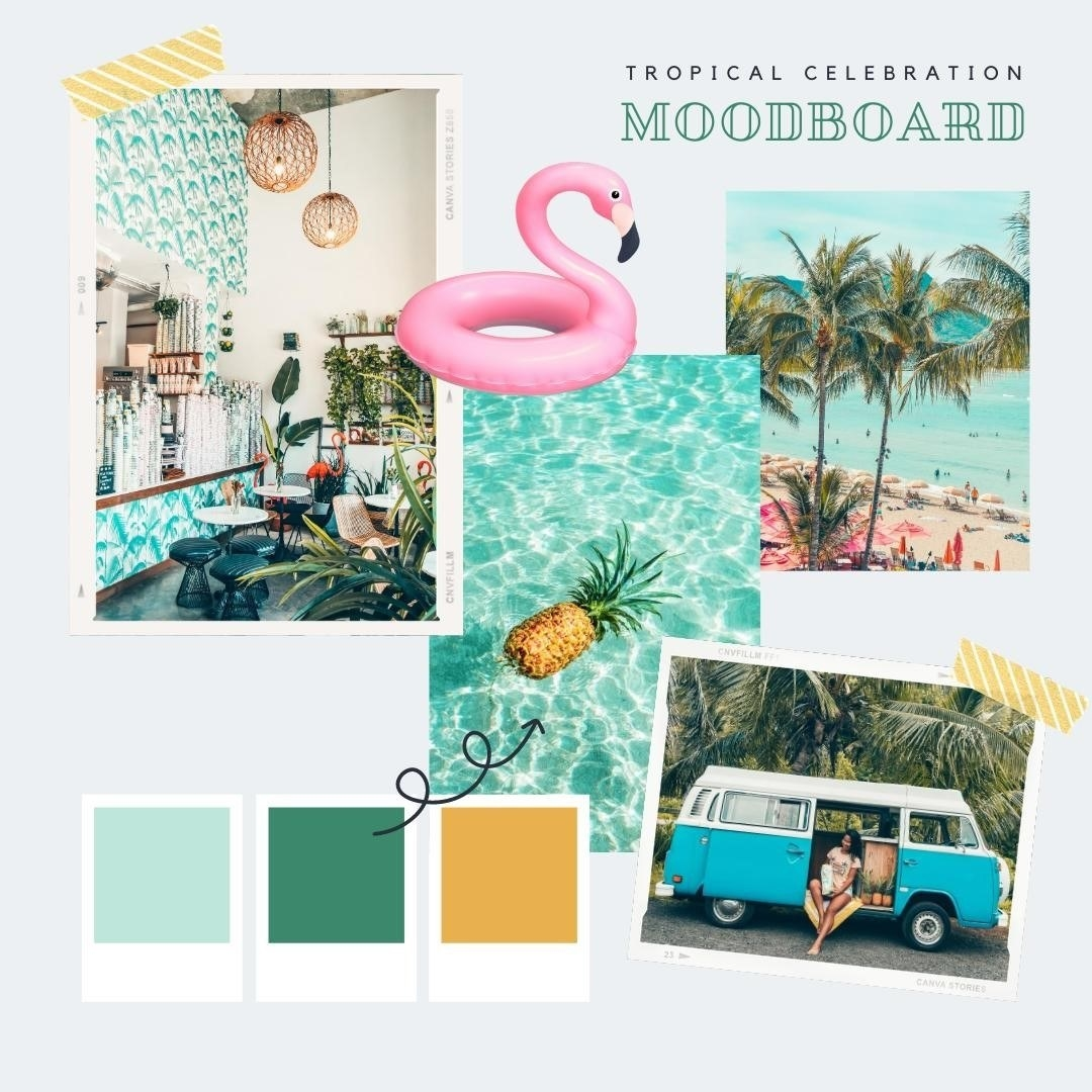 Mood board designed on  Canva with a beach theme and color palette