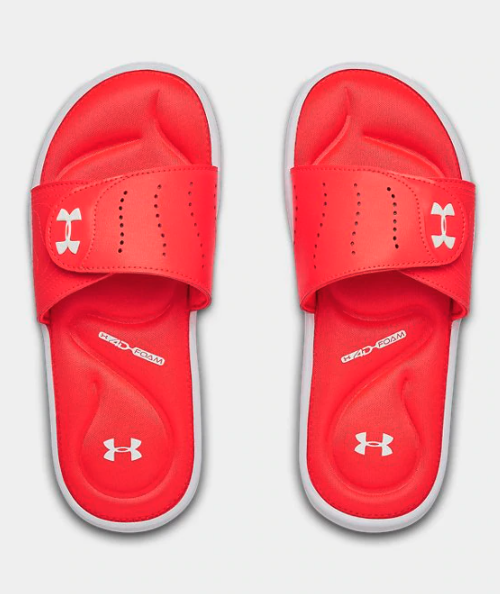 A pair of red flip flops with white soles