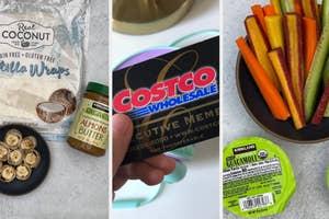 A Costco membership card next to Costco snacks