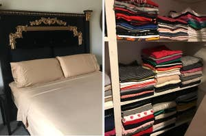 Bed sheets and perfectly folded clothes