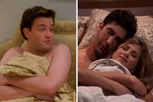 Chandler is on the left in bed with Ross and Rachel cuddled on the right