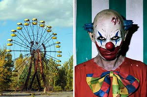 An abandoned ferris wheel is in front of trees and next to this image is a clown in dirty clothes
