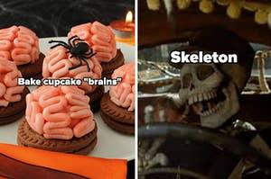 "cupcake ""brains"" and skeleton"