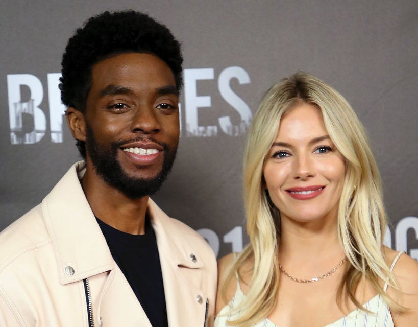"Chadwick Boseman and Sienna Miller attend a photo call for ""21 Bridges"""