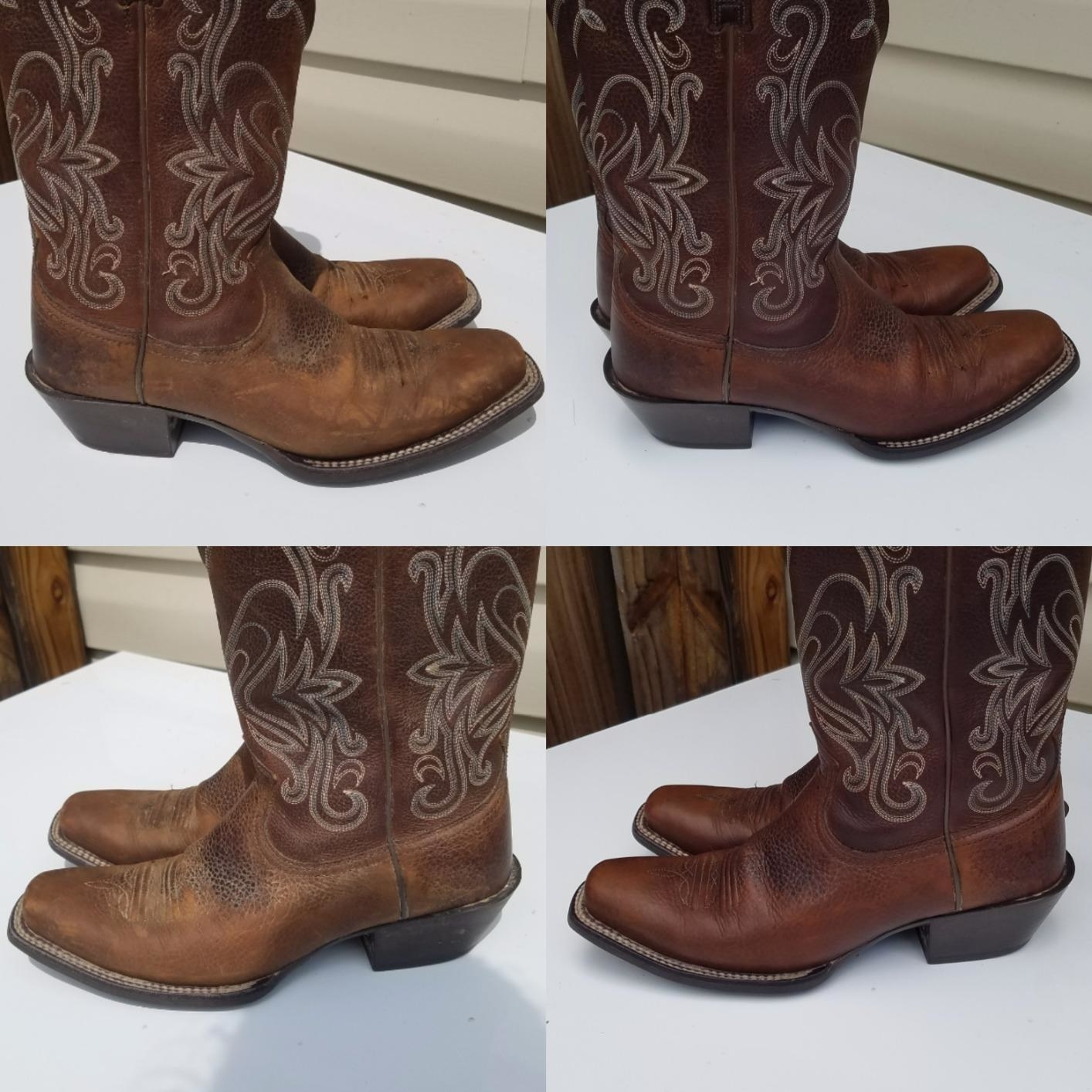 Leather cowboy boots before, looking faded, and after, with their original rich leather tone restored