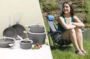to the left: grey pots and pans, to the right: a model in a folding chair