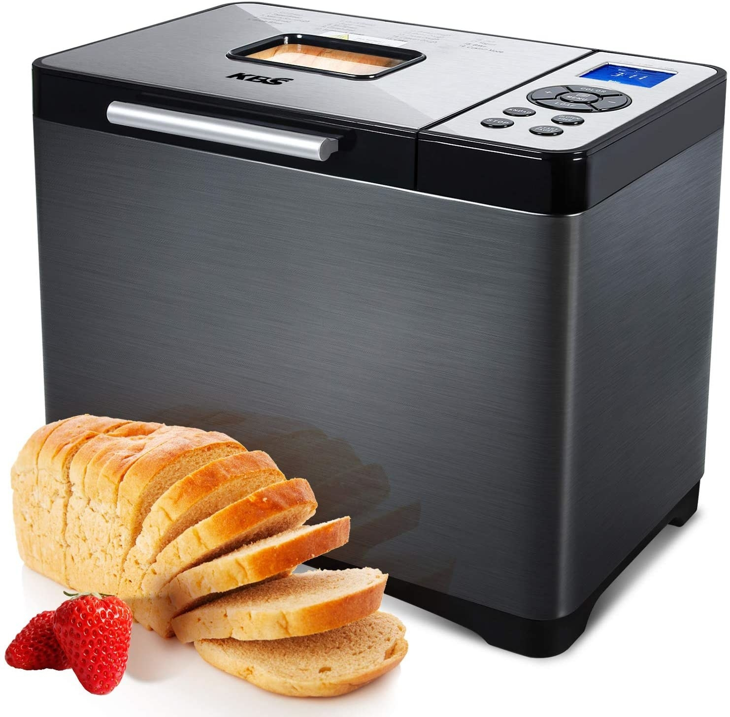 the breadmaker and a loaf of bread