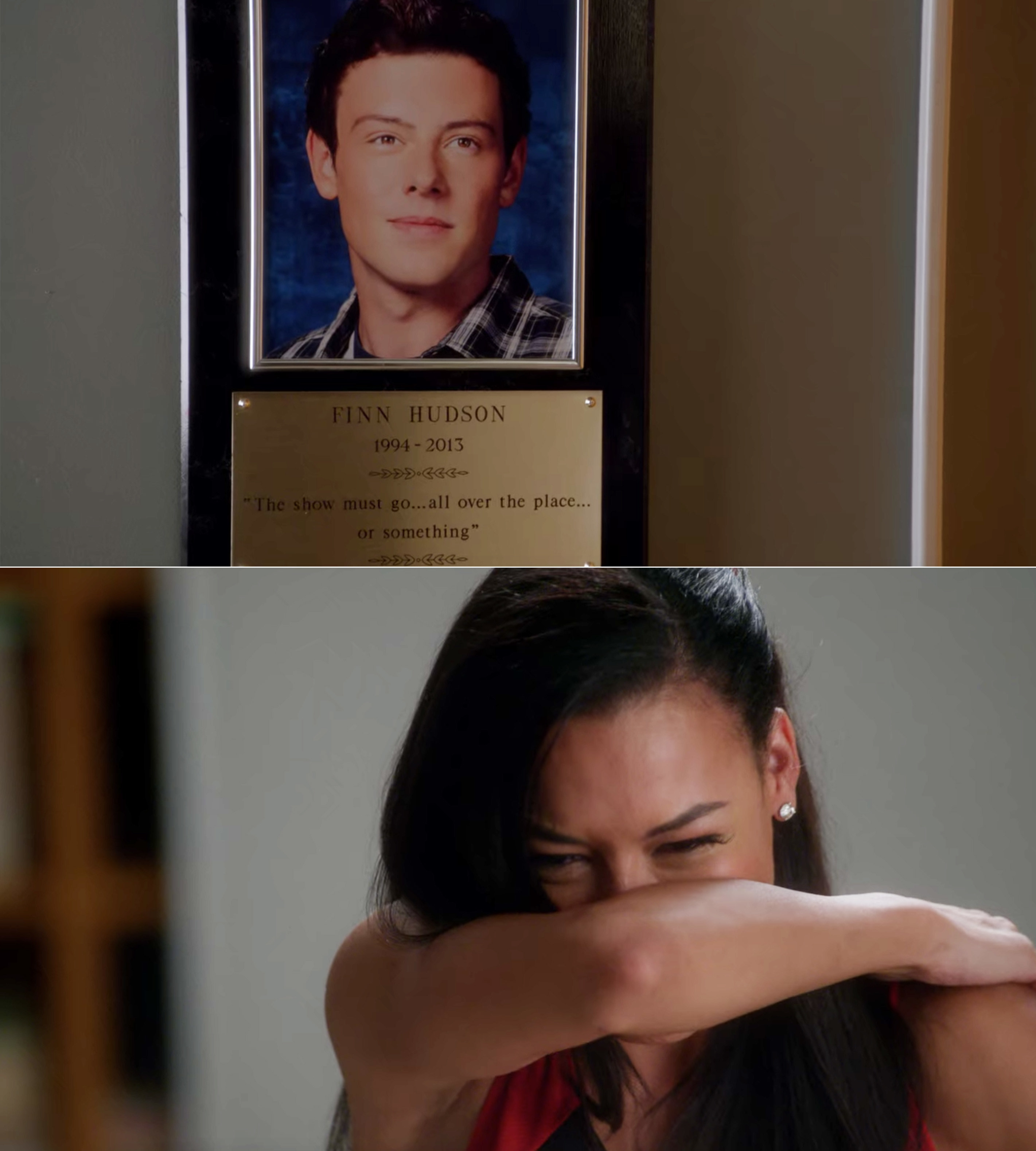 Finn's in memoriam plaque and Santana crying