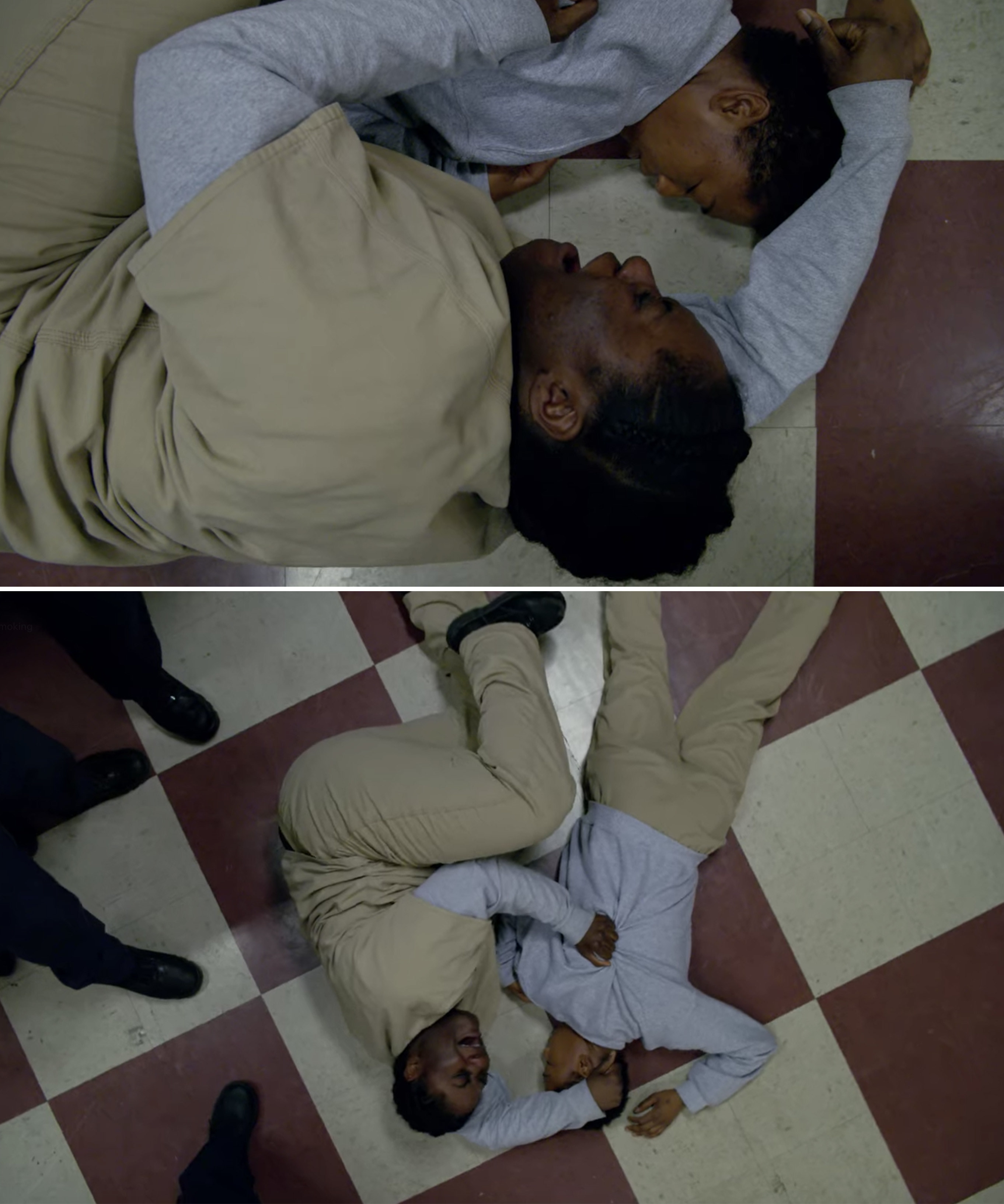 Taystee sobbing and holding Poussey's body