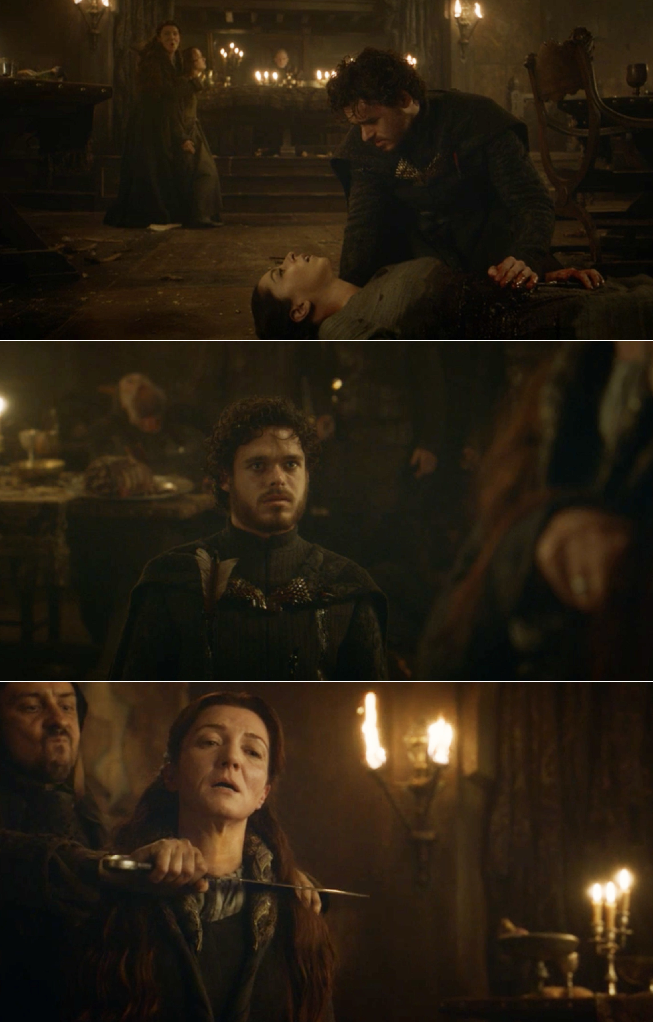 Talisa, Robb, and Catelyn dying at the Red Wedding