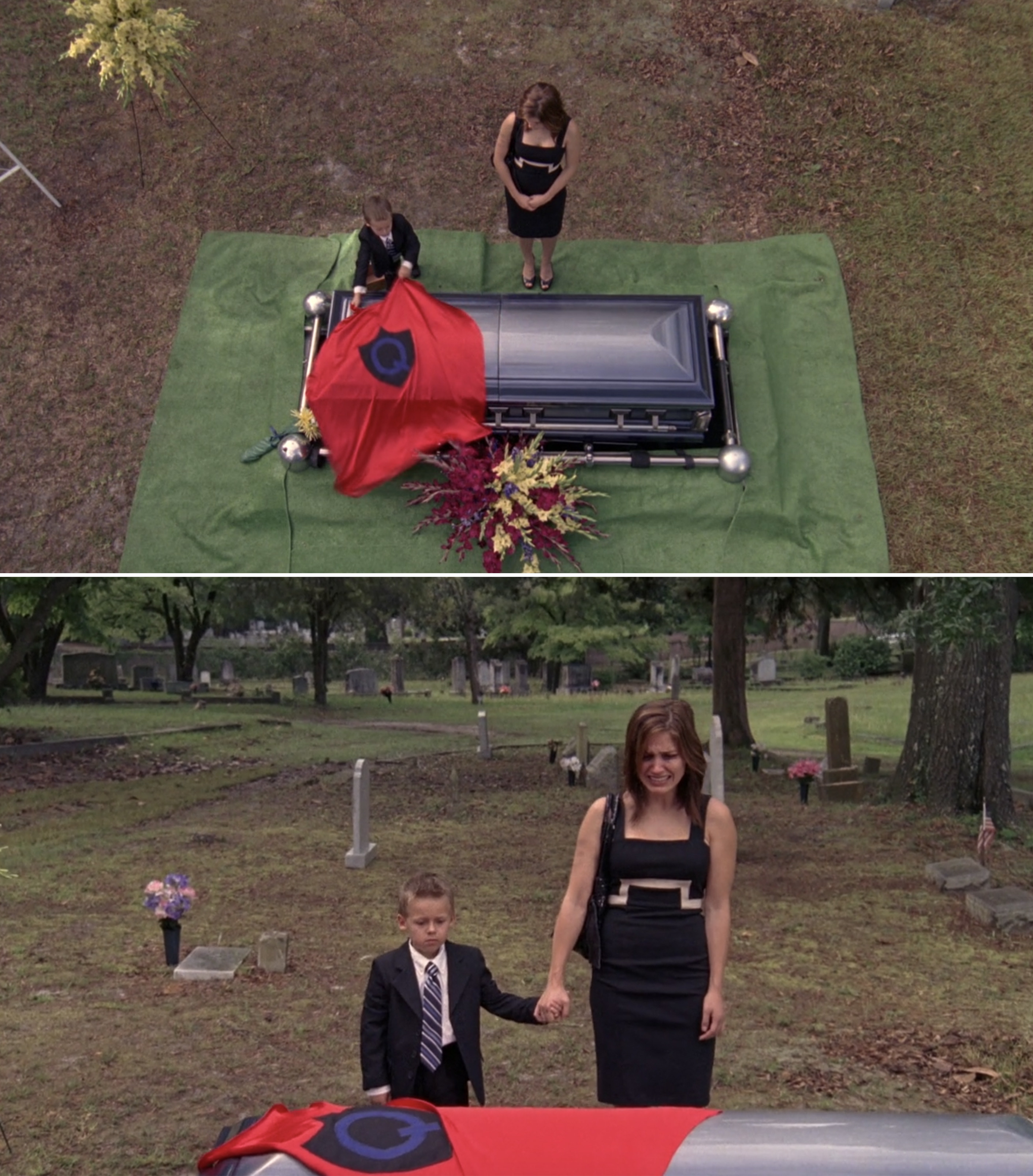 Jamie putting Quentin's cape on his coffin