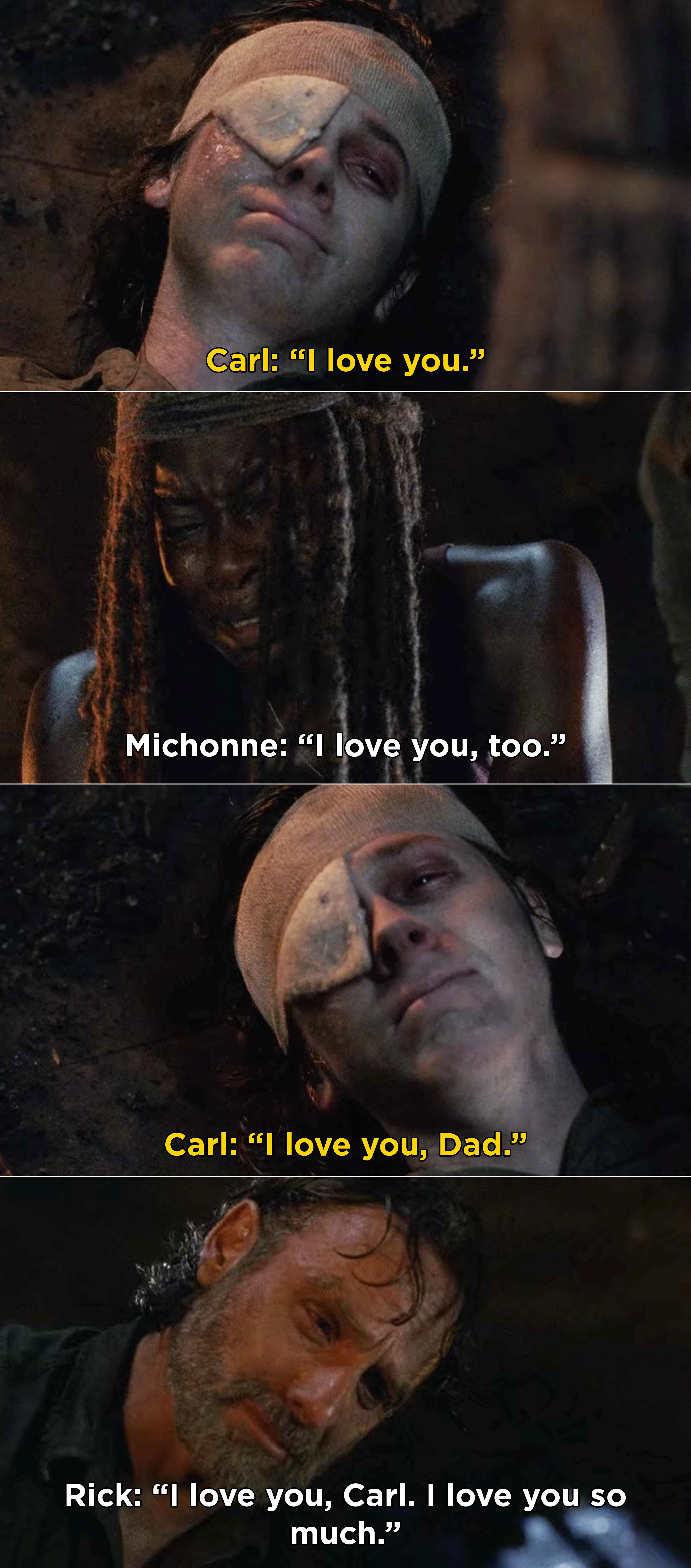 """Carl, Michonne, and Rick saying """"I love you"""" to each other"""
