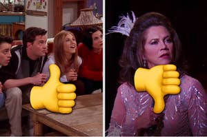 A thumbs up over Joey, Chandler, Rachel and Monica looking up and a thumbs down in front of Chandler's dad