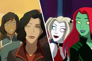 Korra and Asami and Harley and Poison Ivy as couples