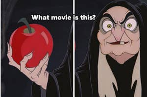 evil queen as old hag holding apple