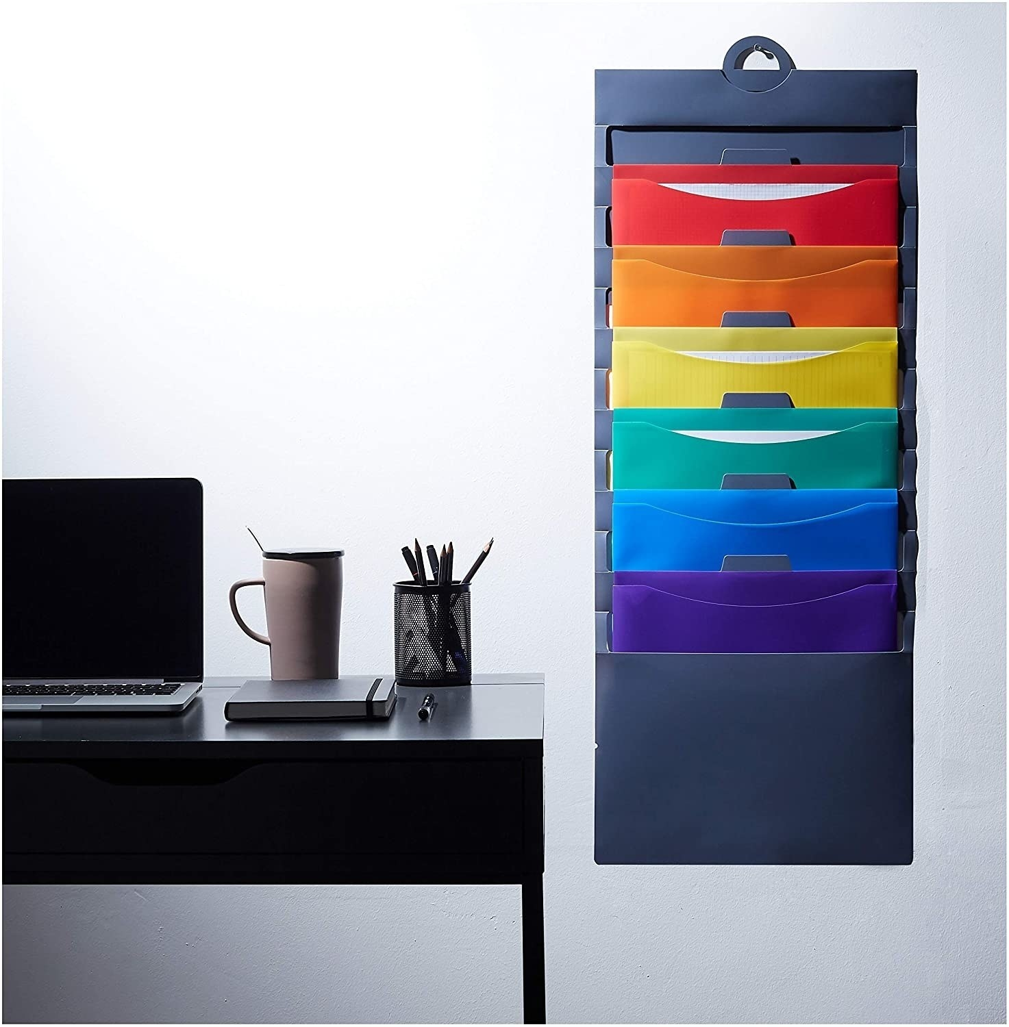the wall hanger showing the folders in colors red, orange, yellow, green, blue, and purple