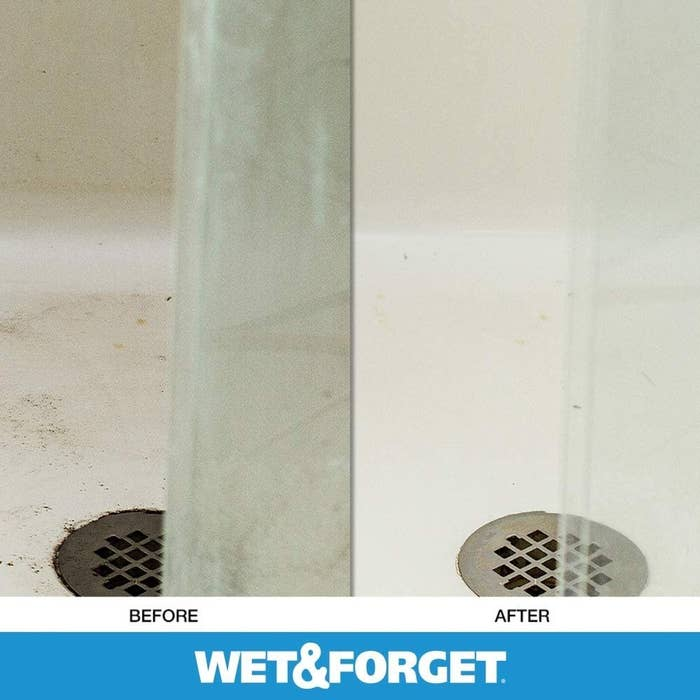 Before: a dirty shower floor; after: the clean shower floor
