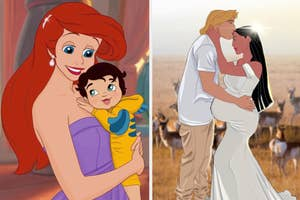 Ariel and Snow White as moms.
