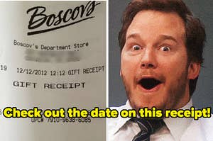 A man looks shocked next to a receipt issued on 12/12/12 at 12/12 pm