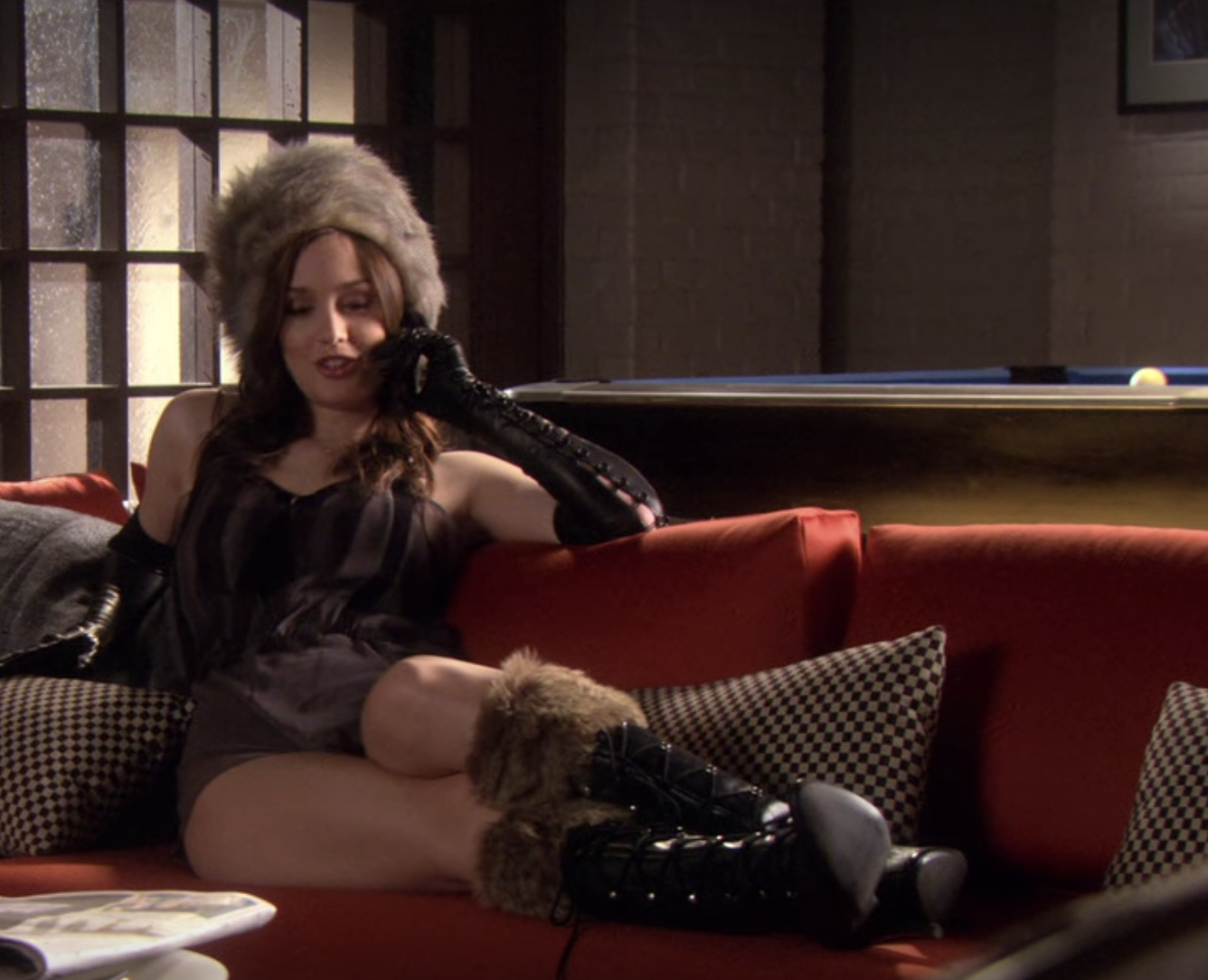 fur high heeled knee high boots with a tight silk slip, long shoulder-length gloves, and a fur hat