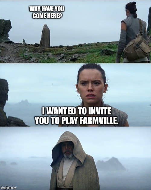 """Rey finding Luke on Ach-To in """"Star Wars: The Force Awakens"""" with text that has her asking him to play Farmville"""
