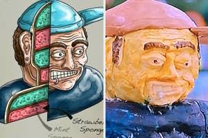 An illustrated Tom DeLonge cake next to the Tom DeLonge cake