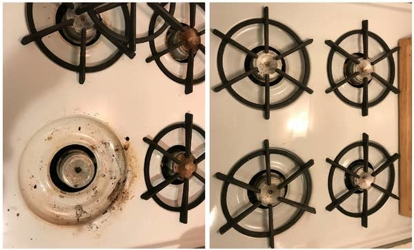 Kayla's enameled stove before, with lots of coooked on and spilled gunk around the hedge. And after, where her burners looked move-in ready.