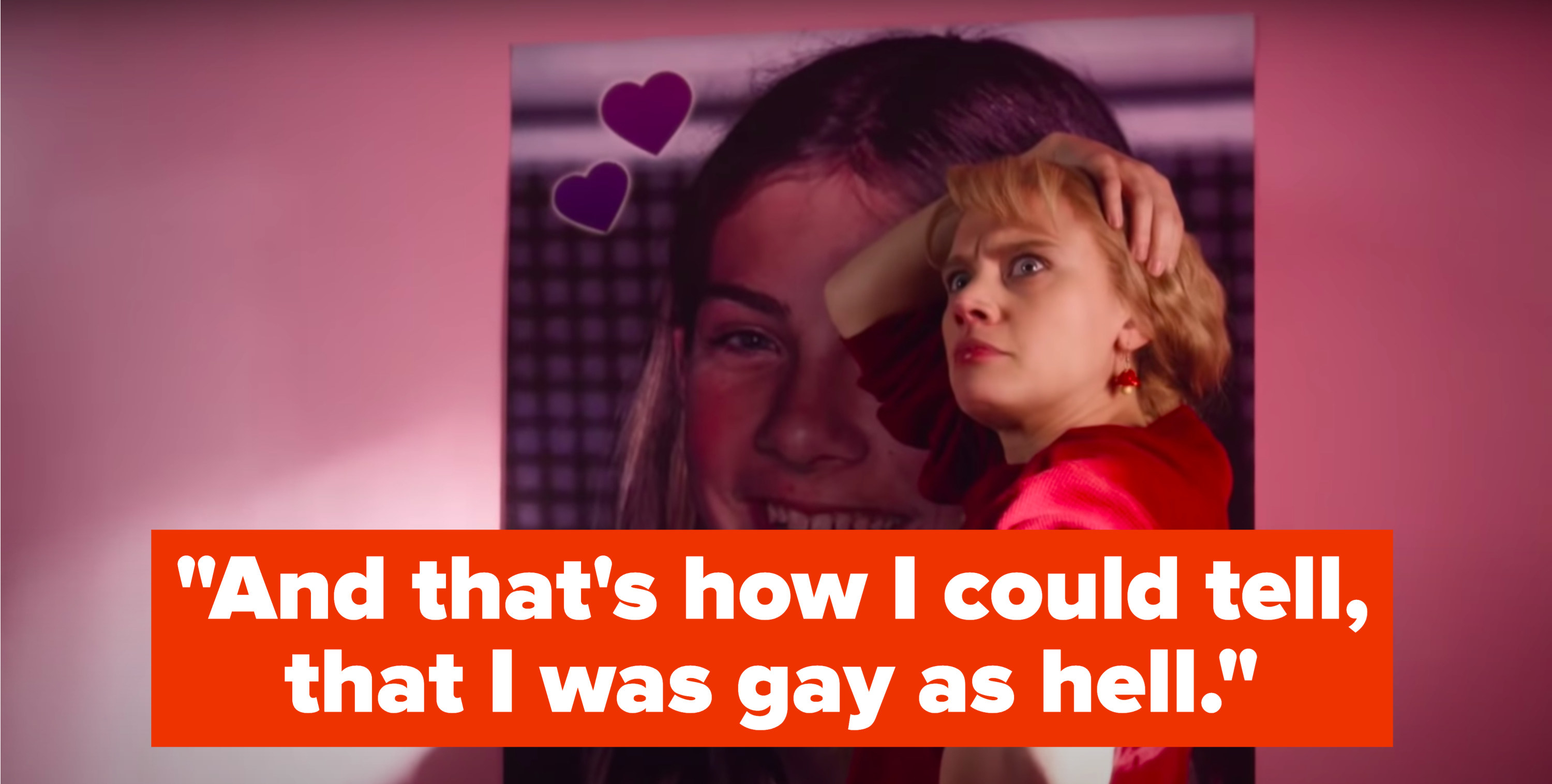 """Kate McKinnon, dressed as her tween self, stands next to a poster of Taylor Hanson while her older self sings, """"And that's how I could tell, that I was gay as hell"""""""