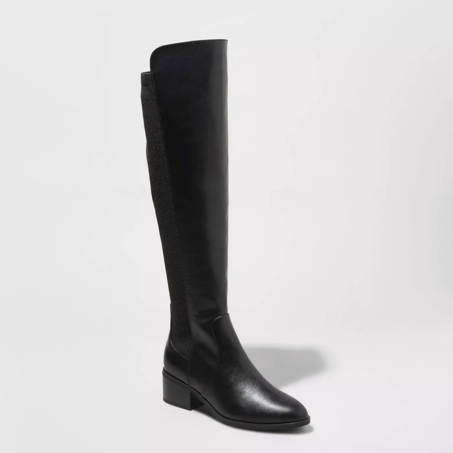 plain black leather boot with a short heel