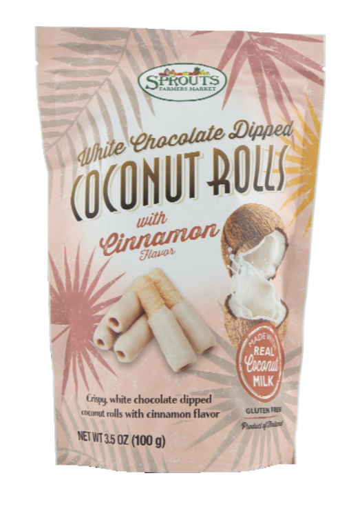 A bag of crispy white chocolate dipped coconut rolls with cinnamon.