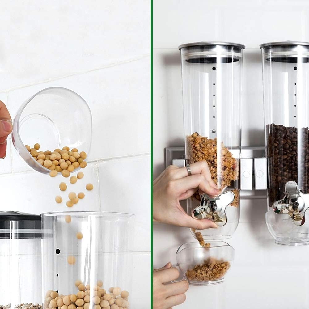 Food being put into the wall-mounted product and dispensed