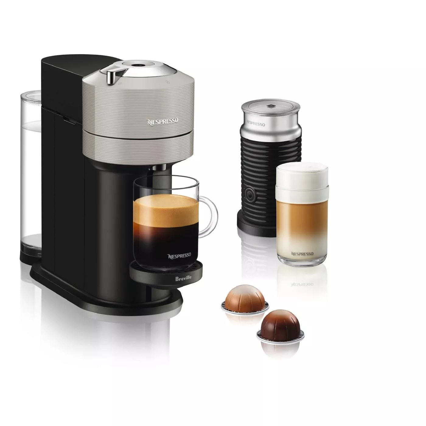 The Nespresso machine and the accompanying milk frother