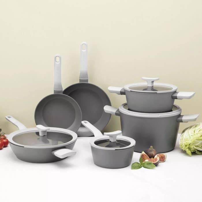 a set of grey pots and pants