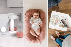 A food processor, a baby in a lounger, a person holding a handheld vacuum