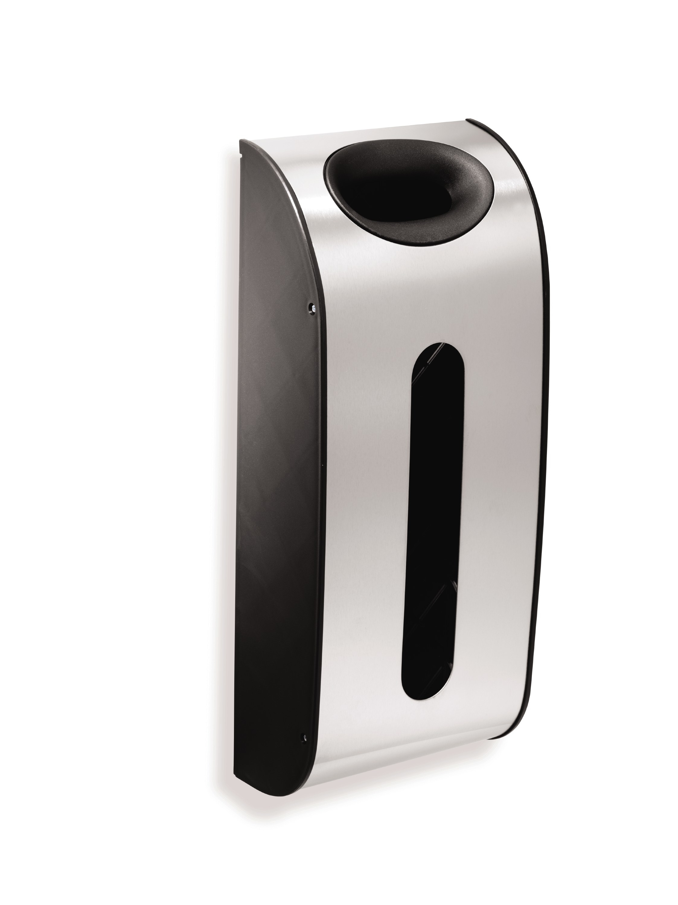 Brushed stainless steel trash bag holder