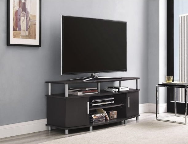 The TV stand in use