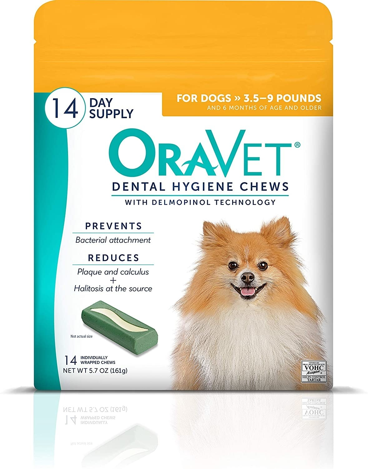White bag of OraVet green chews with a tan and white Pomeranian