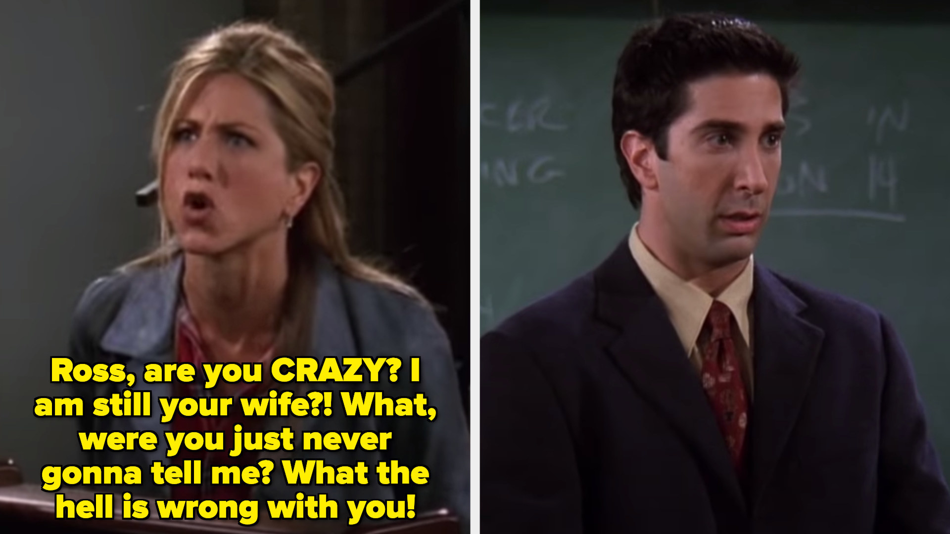 Rachel yelling at Ross in front of his students while Ross reacts by freezing in fear