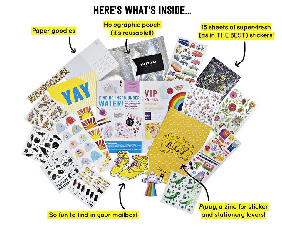 A past kit, which included paper goods, 15 sheets of stickers, and a holographic pouch