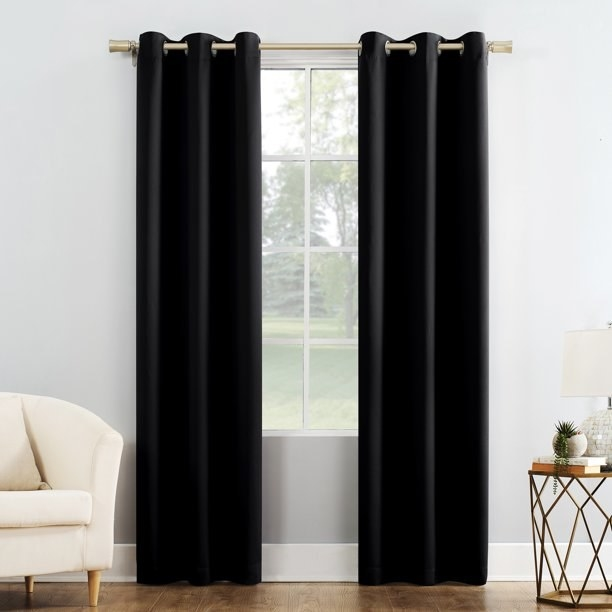 The black curtains hanging