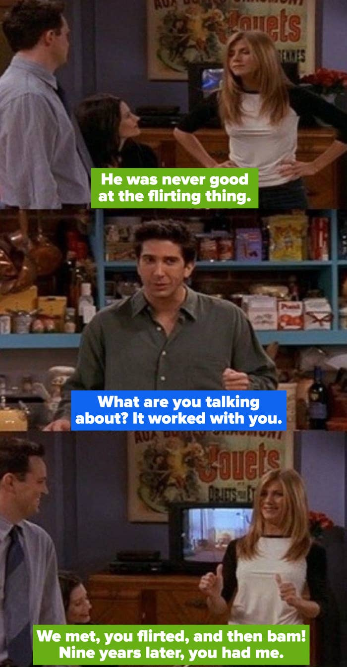 Rachel getting real about his flirting skills, telling him it worked on their relationship nine years after the fact