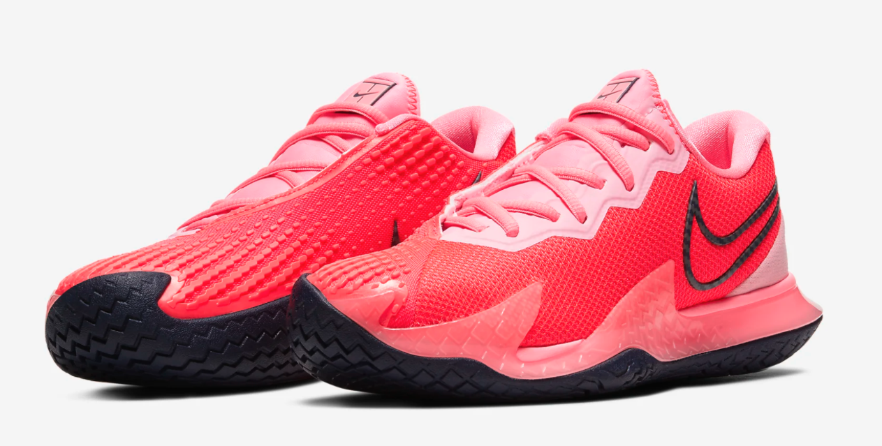 The sneakers in bright red and pink