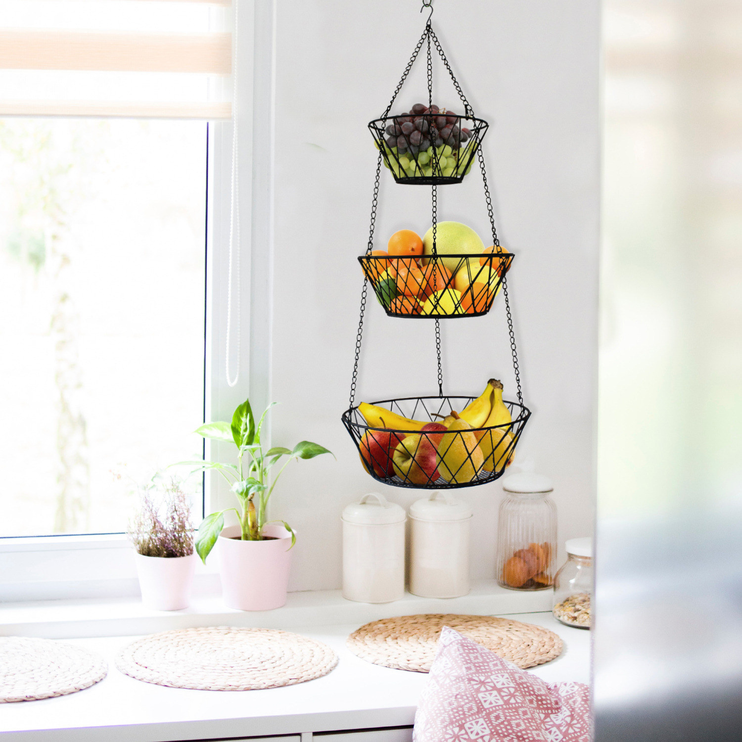 Black 3-tier hanging basket