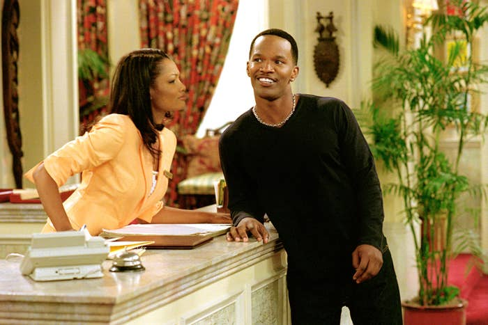 """Garcelle Beauvais and Jamie Foxx as Fancy and Jamie on """"The Jamie Foxx Show"""""""