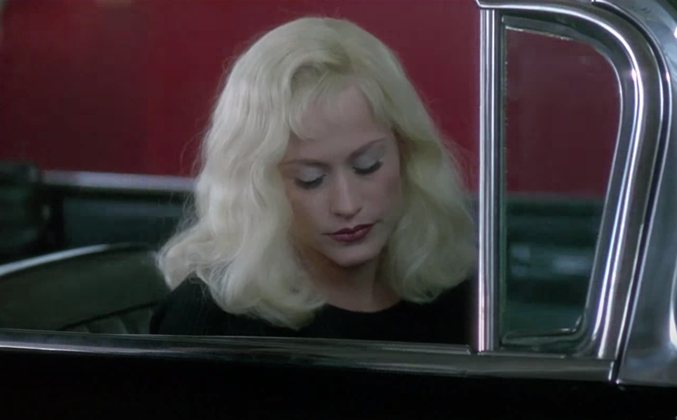 woman getting out of car from the movie lost highway
