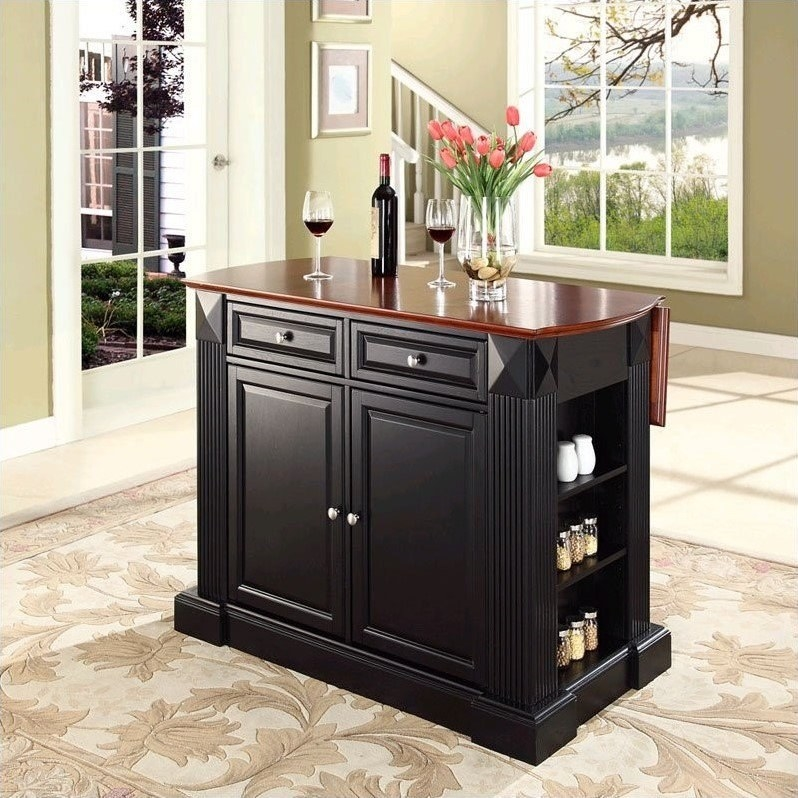Black and brown kitchen island with drop leaf down